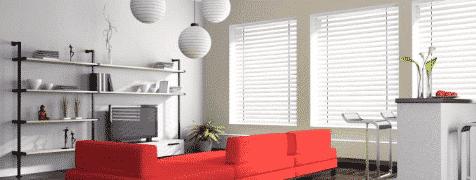 venetian blinds in living room