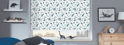 Patterned Blinds with dinosaur motif