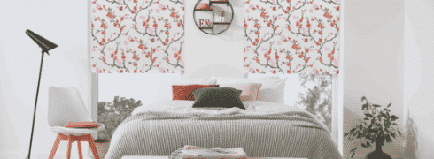 Patterned Blinds with cherry-blossom motif