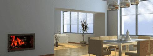 PVC venetian blinds inside a living room