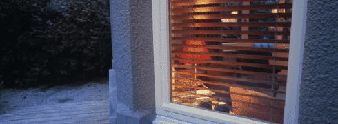 Outdoor view of wooden venetian blinds, designed by Home Vision Blinds