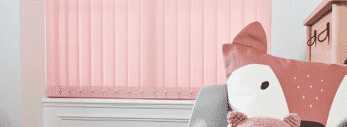 Pink vertical blinds for girls' bedroom